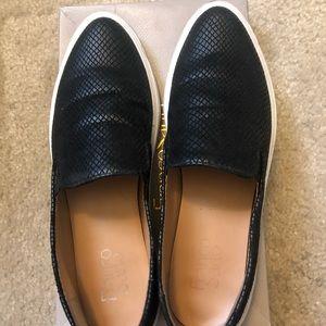 Franco Sarto Black Leather Sneakers size 8.5